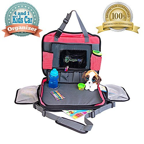 Kids Back Seat-Organizer & Lap-Tray, Large Travel Bag with Stable Lap-Tray Multifunctional Waterproof Car Organizer with Cup Holder & Shoulder Carrier Strap (Red) DdelatProducts