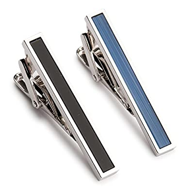 Two Tone Textured Black Blue Tie Clip Set in Gift Box - Bars for Skinny Ties - Classic Fashionable Necktie Pins for Business Professional - Mens Wedding 2pcs Luxury Pinch Clasps