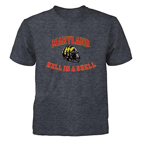 FanPrint Maryland Terrapins T-Shirt -, Hell in A Shell - Youth Tee/Dark Grey/XL ()