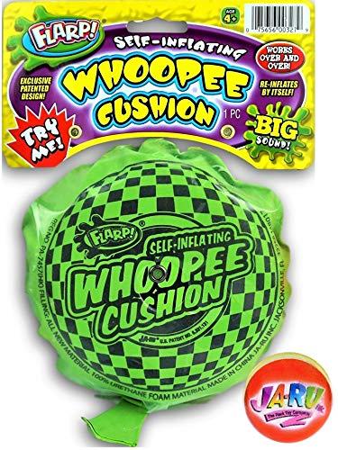 JA-RU Whoopee Cushion Self-Inflating Large (1 Unit) Prank Gas Sounds Plus Bouncy Ball Bundle | Item #327-1slp
