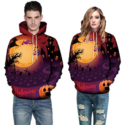 Men Women Mode 3D Print Long Sleeve Autumn Winter Casual Halloween Hoodies Top Blouse T Shirts Outwear (5XL, Orange) by Appoi Halloween Men's and Women's Tops