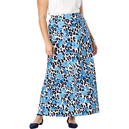 Jessica London Women's Plus Size Everyday Knit Maxi Skirt - Navy Cheetah Floral, 26/28