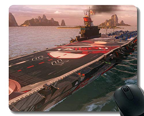 Mouse Pad with Stitched Edge,Japanese Aircraft Carrier Taiho Non-Slip Rubber Gaming Mouse Pad