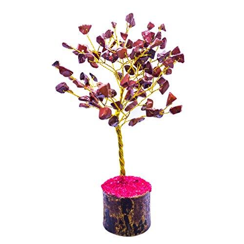 Crocon Natural Gemstone Bonsai Money Tree for Good Luck, Wealth Health & Prosperity Spiritual Gift Crystal Energy Feng Shui Home Table Decor Size 7-8 inch (Red Jasper (Golden -