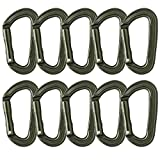 Fusion Climb Contigua II Military Color Edition Grooved Straight Gate Key Nose Carabiner Ranger Green 10-Pack