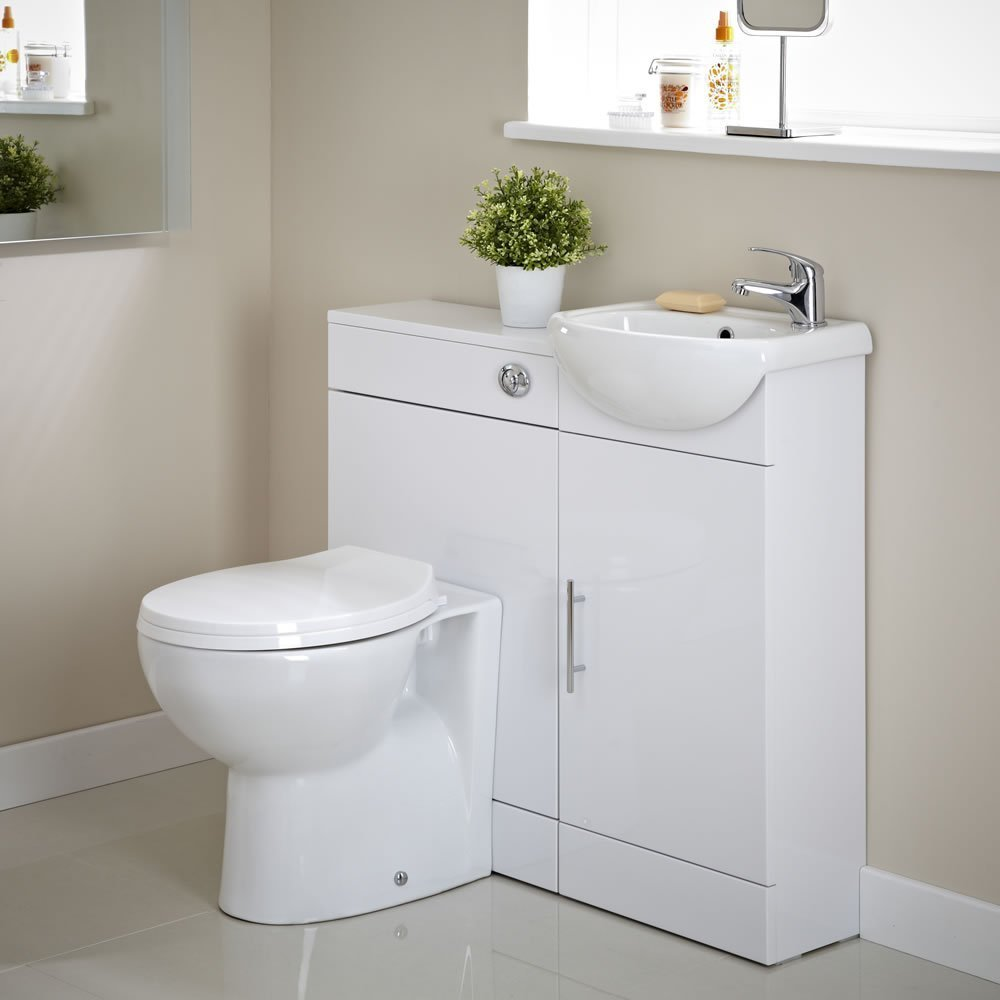 Home Standard Compact White Gloss Bathroom Furniture (Vanity Packages,  Package 6)