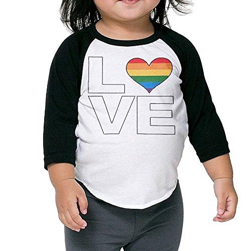Saroyan Love Rainbow Heart Baby Raglan T-Shirts Baseball Tee 3/4 Sleeve 2 Toddler