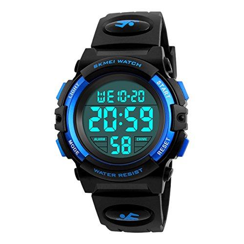 Kid's Digital Watch Outdoor Sports 50M Waterproof Electronic Watches Alarm Clock 12/24 H Stopwatch Calendar Boy Girl Wristwatch - Blue …