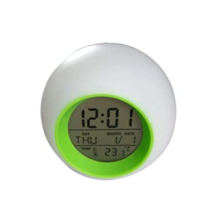 CHESUN Digital Despertador 7 Colores,Función Snooze Despertador Temperatura Hora Fecha Reloj Despertador Pantalla LED