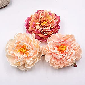 Artificial Flower Silk Peony Flower DIY Home Decor Hairpin Flower arrangement Movie TV show Hair Ornament Slippers 5pcs 14cm 46