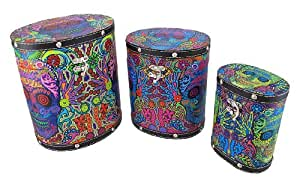 Set Of 3 Day of the Dead Sugar Skull Themed Tall Oval Shaped Boxes