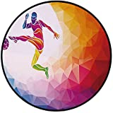 Printing Round Rug,Teen Room Decor,Fractal Soccer Player Hitting the Ball Polygon Abstract Artful Illustration Decorative Mat Non-Slip Soft Entrance Mat Door Floor Rug Area Rug For Chair Living Room,M