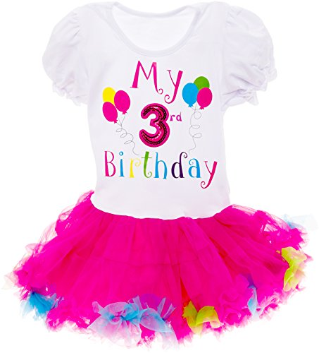 Silver Lilly Baby Girls Birthday Outfit - Its My Birthday Printed Tutu Dress for Toddlers (Multi Color, 3 Year Old)]()