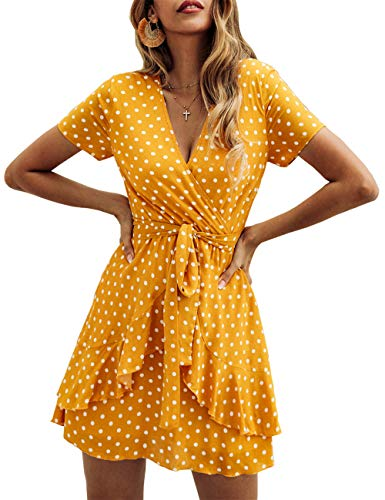 (BTFBM Women V Neck Short Sleeve Polka Dot Floral Pattern A-Line Tie Belt Short Dress with Ruffle Irregular Hem (Yellow, Medium))