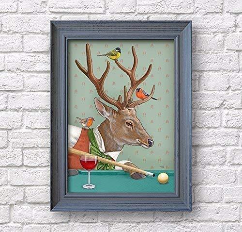 (Deer Art Print, Billiard Woodland Inn Poster, Wine Bar Decor)