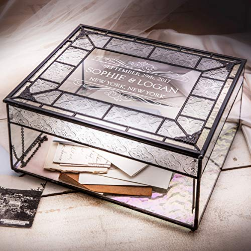 Personalized Wedding Card Box for Reception Decorative Glass Keepsake Display J Devlin Box 840 CBE 843 from J Devlin Glass Art