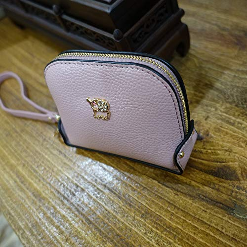 Coin Purse Wallet leather Wristlet Handbags with Wrist Strap Cute Mini Designer Pouch Great Gifts for Women Girls(Elephant Pink) by JZE (Image #2)