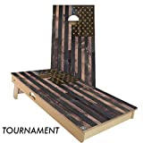 Rustic Wood American Flag Cornhole Board Set