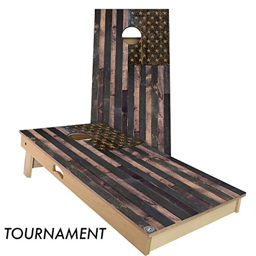 Rustic Wood American Flag Cornhole Board Set by Slick Woody's Cornhole Co.