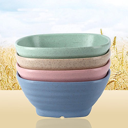 Golandstar Eco Friendly Healthy Wheat Straw Plastic Bowl for Rice,Soup, Popcorn, Fruit, Salad,Cereal Dinner Party Bowls 4pcs(Beige, Blue, Green, Pink)