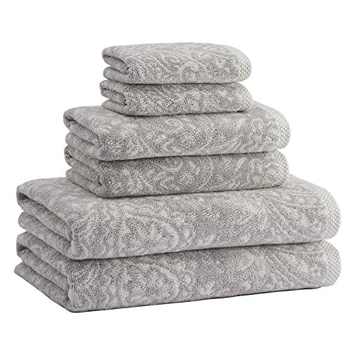 Truly Lou Decorative 6 Piece Bath Towel Set - Luxurious Jacquard Woven Pattern Made with USA Cotton - Ultra Absorbent, Fast Drying, and Eco-Friendly - Durable & Soft Spa Quality - Jacquard Set Towel