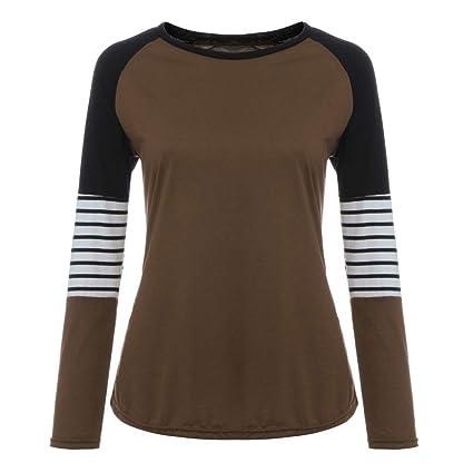 Fhuuly - Blusa de manga larga para mujer, diseño de rayas, color ...