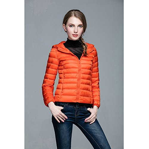 Lightweight Women's Coat Orange Short 1 Jacket Hooded Down Ultra Puffer BPRcPa