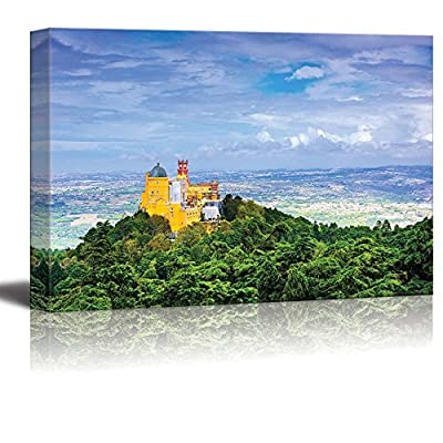 Canvas Prints Wall Art - Beautiful Landscape Sintra, Porugal at Pena National Palace | Modern Wall Decor/Home Art Stretched Gallery Canvas Wraps Giclee Print & Ready to Hang - 32