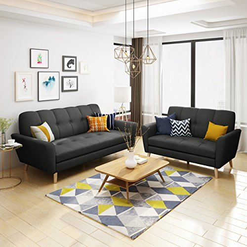 Angelina Mid Century Black Fabric Sofa and Loveseat Set