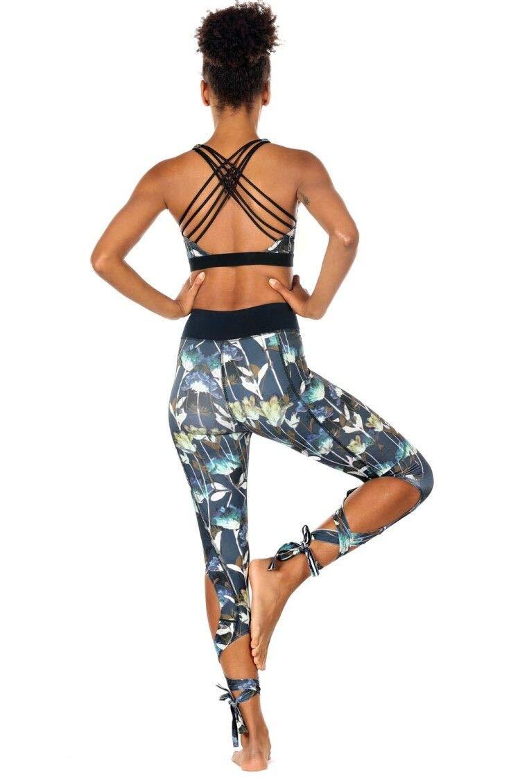 icyZone Women\'s Running Leggings Cutout Tie Cuff Slim Yoga Pants Jogger Workout Tights (L, Lotus)