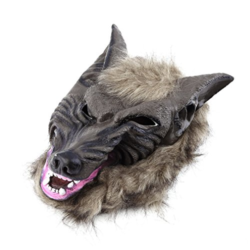 New 2017 Hot Sale Latex Animal Wolf Head Mask with Hair Halloween Party Fancy Scary Dress Costume Horror Anonymous Face Masks