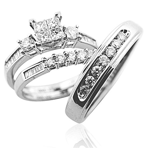 Trio Wedding Ring Set His and Her Rings White Gold Real Diamonds Princess 0.75ct(i2/i3, i/j 10k Bridal Set Ring