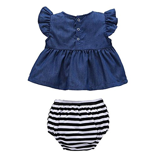 Weixinbuy Baby Girls Denim Dress T-shirt Tops+Underwear Shorts Outfits 2Pcs Set