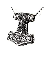 Men's Stainless Steel Vintage Viking Norse Quake Odin Thors Hammer Pendant Necklace