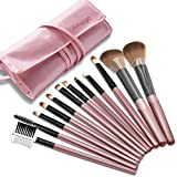 Makeup Brush Set,12 pieces Makeup Brush Set tool Professional Face Powder Brush Eye Shadow Eyeliner Foundation Brush Lip Makeup Brushes Powder Liquid Cream Cosmetics Brush Tool With Brush Bag (Pink)