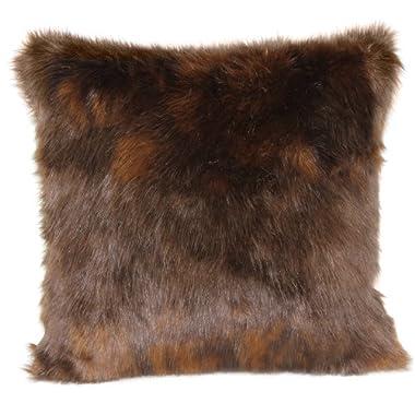 Brentwood Fox Fur 18-Inch Knife Edge Pillow, Auburn