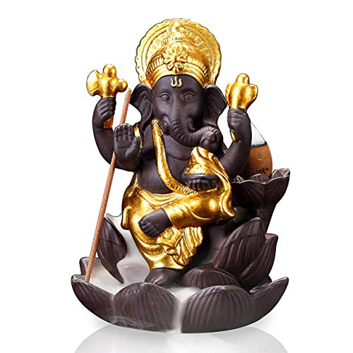 (OTOFY Backflow Waterfall Ceramic Incense Holders, Backflow Fountain Incense Burner Figurine Incense Cone Holders Home Decor Gift Decorations Statue Ornaments (Flower Ganesha))