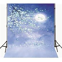Photography Background Night 5x7ft White Flower Tree Large Moon Newborn Backdrop for Photo Studio