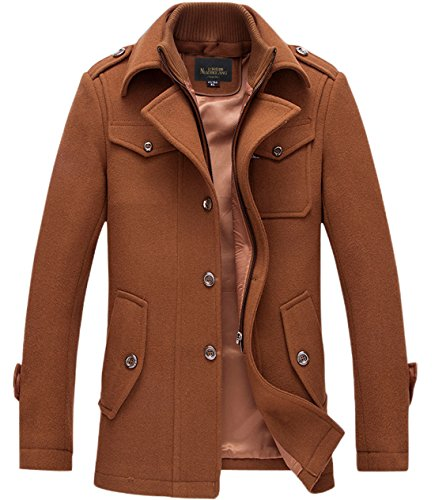 chouyatou Men's Stand Collar Wool-Blend Classic Pea Coat with Removable Inner Collar (Small, H36-Brown) -