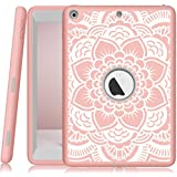 iPad case 9.7 2017/2018,PIXIU Heavy Duty Shockproof Full-Body Three-Layer Defender Rubber Protective case Cover for iPad 5th Generation (A1822 A1823)/iPad 6th (A1893 A1954) Flower Cases/Rose Gold