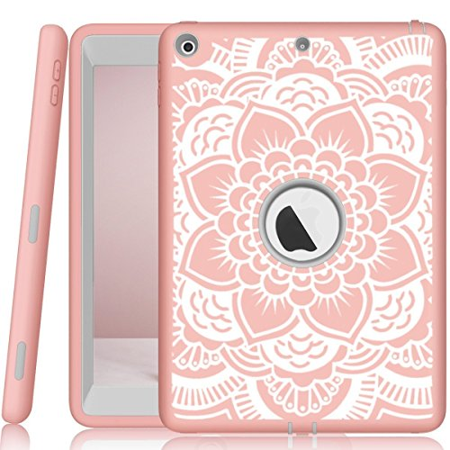 iPad case 9.7 2017 and 2018,PIXIU Heavy Duty Shockproof Full Body 3 Layer Defender Rubber Protective case Cover for iPad 5th Generation A1822 A1823 andiPad 6th A1893 A1954 FlowerRose ()