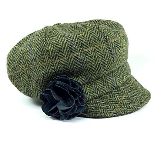 Mucros Women's Newsboy Cap Green Herringbone 100% Wool Made in Ireland