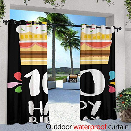 Tim1Beve Outdoor Window Curtains 100th Birthday Old Legacy 100 Birthday Party Cake Candles on Black Major Milestone Backdrop for Patio/Front Porch 96