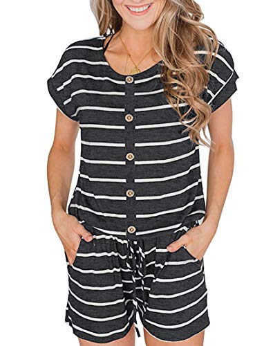 Button Down Romper - YIBOCK Women's Summer Sleeveless Button Down Striped Short Jumpsuit Cami Romper