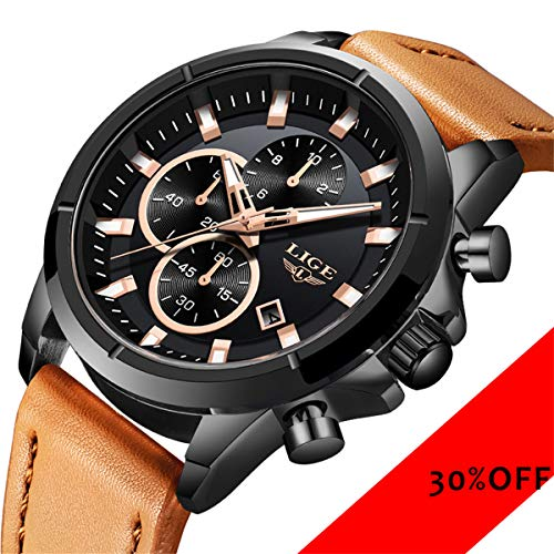LIGE Mens Watch Dress Waterproof Chronograph Brown Leather Strap Watches Business Sport Date Analog Quartz Watch ()
