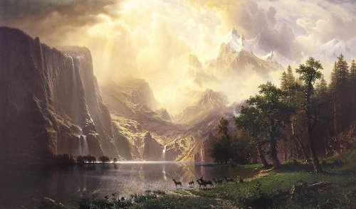 Albert Bierstadt - Among The Sierra Nevada Mountains, Size 16x24 inch, Poster art print wall (Bierstadt Canvas Painting)