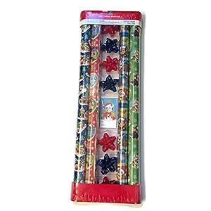 Nickelodeon Paw Patrol–Juego de papel de regalo de Navidad con etiquetas y cintas