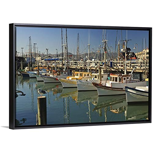 Terminal Fishermens - Stuart Westmorland Floating Frame Premium Canvas with Black Frame Wall Art Print Entitled Fishermen's Terminal; San Francisco, California, USA 30
