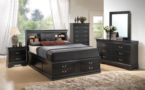 [Traditional Storage Platform Bed in Black Finish (Queen - 61.25 in. L x 91.25 in. W x 48.5 in. H)] (Traditional Platform)