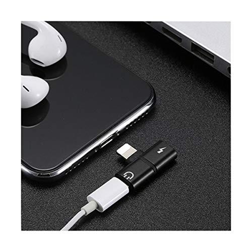 Adaptador de carga 2 en 1 para auriculares y auriculares para iPhone 7, 8 x, Negro